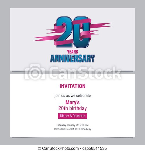 20 years anniversary invitation to celebration vector illustration 20 years anniversary invitation to celebration vector illustration stopboris Image collections