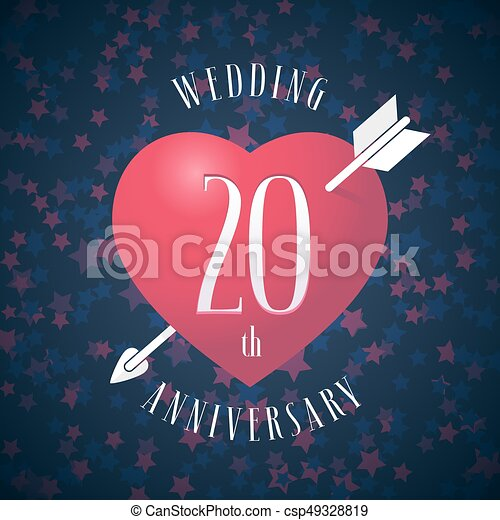 20 Years Anniversary Of Being Married Vector Icon Logo Graphic