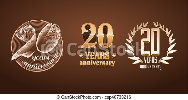 20 years anniversary set of vector logo, icon, number - csp40733216
