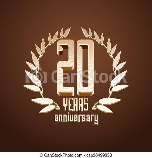 20 Years Anniversary Vector Logo Icon 20th Birthday Age