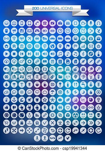200 Universal icons set - csp19941344
