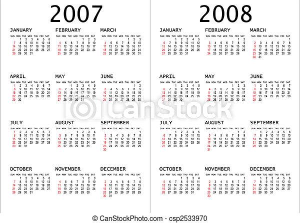 Calendario 2008.2008 2007 Calendario