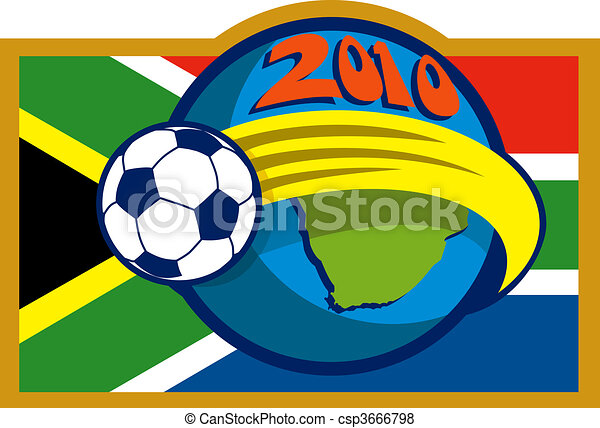 2010 soccer world cup with soccer ball fying over globe with map and flag of south africa - csp3666798