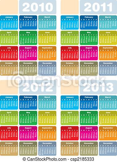 Kalender für 2010, 2011, 2012 und 2013 - csp2185333