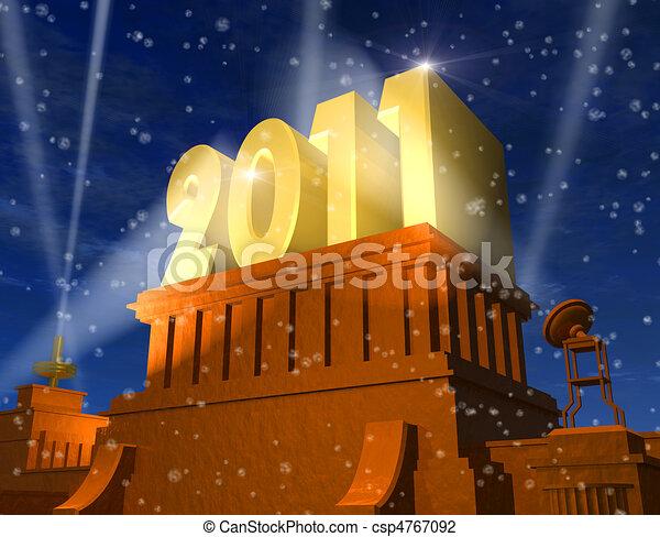 2011, nowy rok, celebrowanie - csp4767092