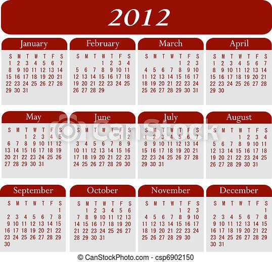 2012 calendar.   CanStock