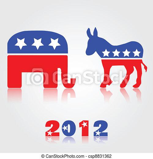 2012 Democrat & Republican Symbols - csp8831362