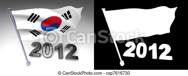 2012 design and South Korea flag on a pole - csp7616730