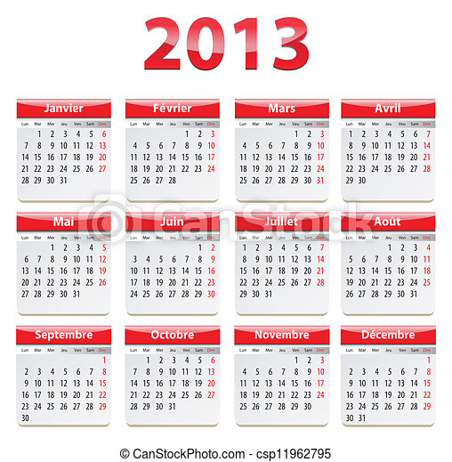 2012 french calendar calendar for 2013 year in french vector
