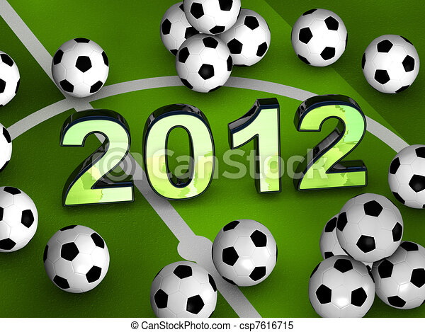 2012 in the middle with many soccerballs - csp7616715