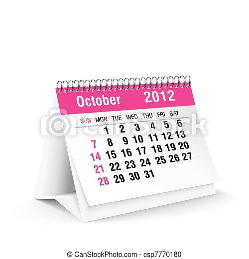 2012, kalender, oktober, buero