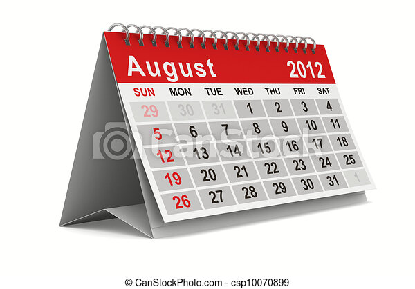 2012 year calendar. August. Isolated 3D image - csp10070899