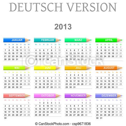 deutsch naptár 2013 crayons calendar deutsch version. Colorful monday to sunday  deutsch naptár