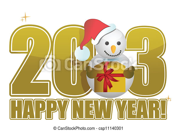 2013 Happy new year snowman text - csp11140301