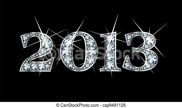 2013 in Diamond Bling font - csp9491126
