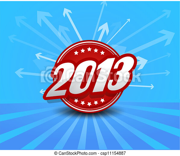 2013 label on blue background with arrows. - csp11154887