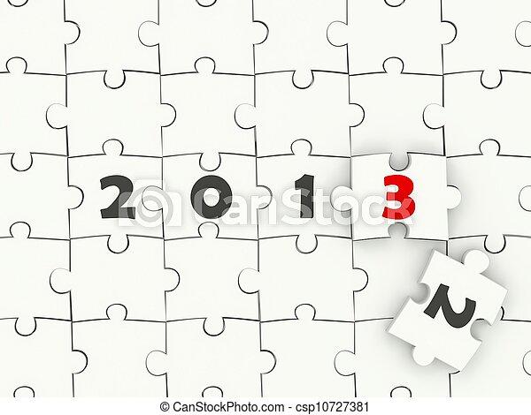 2013 New year symbol on puzzle - csp10727381