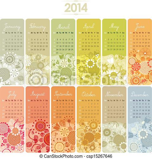 2014, カレンダー, セット - csp15267646