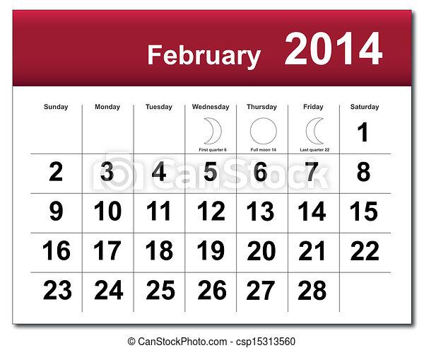 2014, 2 月, カレンダー - csp15313560