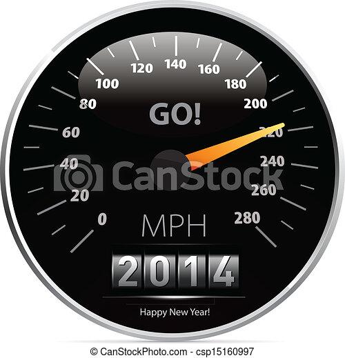 2014, año civil, velocímetro, coche - csp15160997