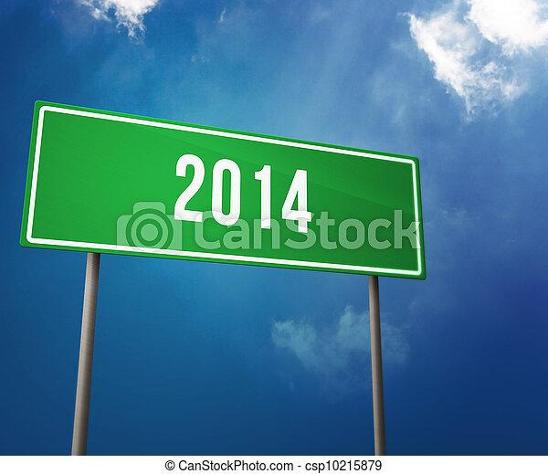 2014 años en el cartel de carretera - csp10215879