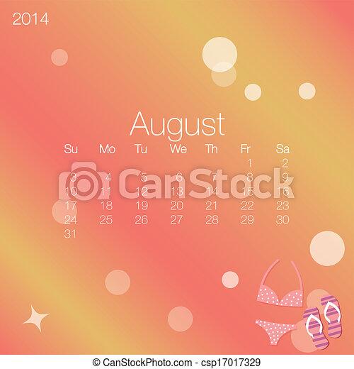 2014 calendar August, vector - csp17017329