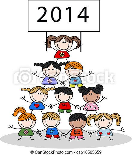 2014 calendar happy children - csp16505659