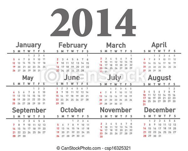 2014 calendar  - csp16325321