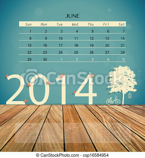 2014 Calendar Monthly Calendar Template For June Vector Illustration