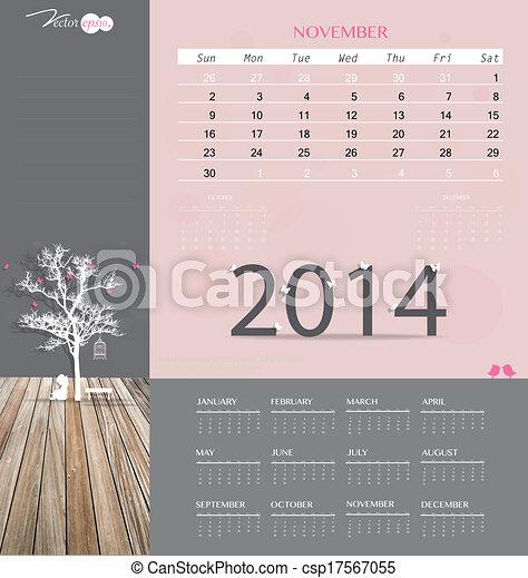 2014 Calendar Monthly Calendar Template For November Vector