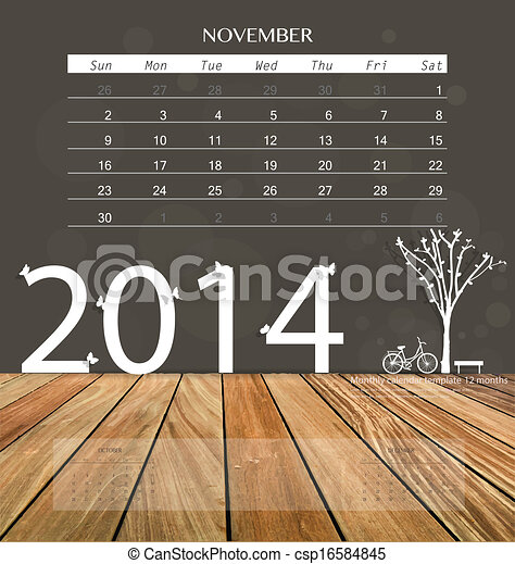 2014 Calendar Monthly Calendar Template For November Eps Vector