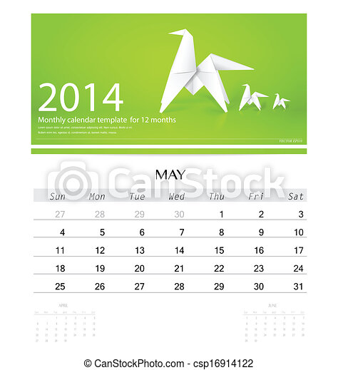 2014 Calendar Monthly Calendar Template For May Origami Vector