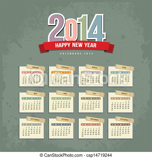 2014 Calendar paper design - csp14719244