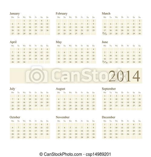 2014 Calendar - csp14989201
