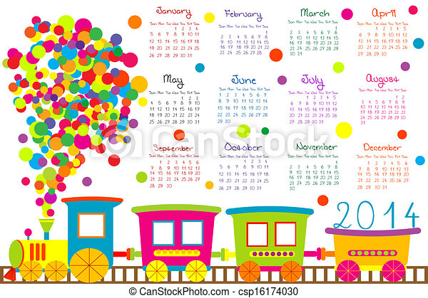 2014 calendar with cartoon train - csp16174030