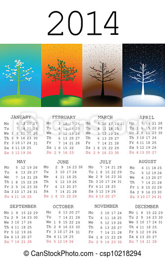 2014 Calendar with tree in all the seasons - csp10218294