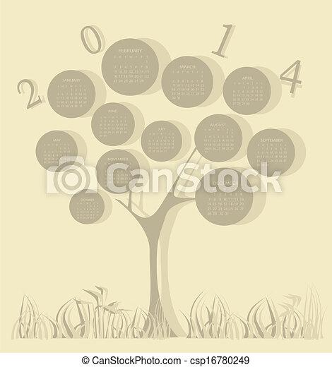 Calendario de árboles de 2014 años - csp16780249