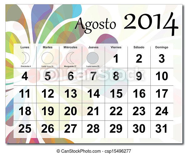 2014, calendario, agosto. Capas, disponible, diferente ...