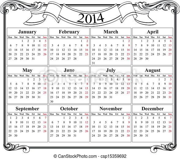Red de calendario 2014 en blanco - csp15359692