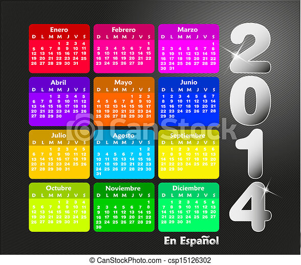 2014, calendario, español - csp15126302