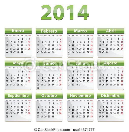 2014, calendario, español - csp14374777