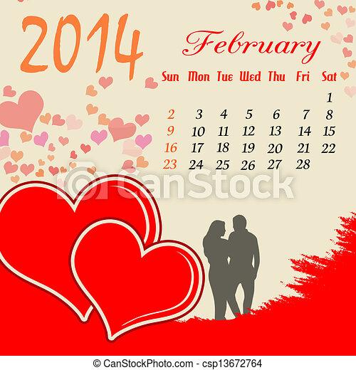 Calendario para el febrero de 2014 - csp13672764
