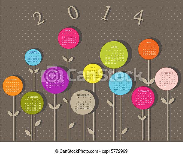 2014, calendario, fiori, anno - csp15772969