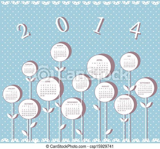 Calendario por 2014 años con flores - csp15929741