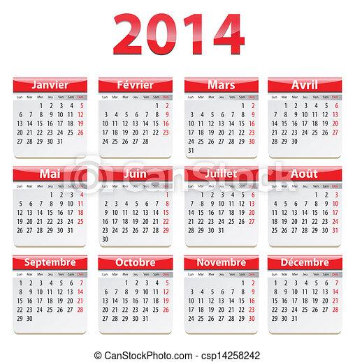 Calendario Anno 2014.2014 Calendario Francese