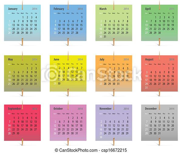 Calendario inglés 2014 - csp16672215