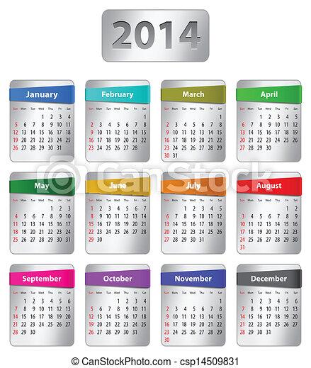Calendario inglés 2014 - csp14509831