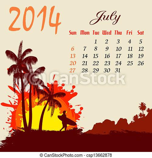 Calendario para el 2014 de julio - csp13662878
