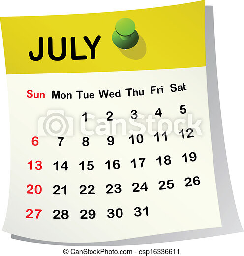 Calendario 2014 para julio. - csp16336611
