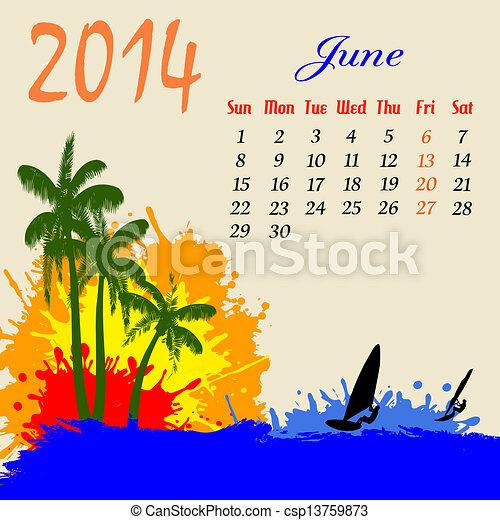 Calendario para Junio de 2014 - csp13759873